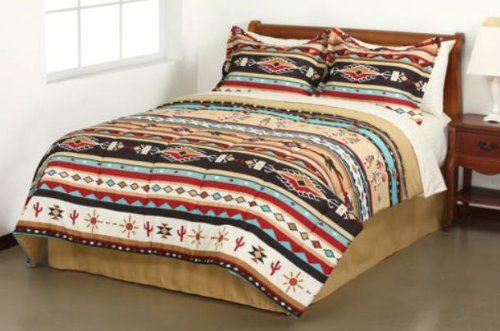 Southwest Turquoise Tan Red Native American Full Comforter Set (8 Piece Bed In A Bag) by Kreative Kids, http://www.amazon.com/dp/B0083URNJA/ref=cm_sw_r_pi_dp_K69zqb0XYFXEC