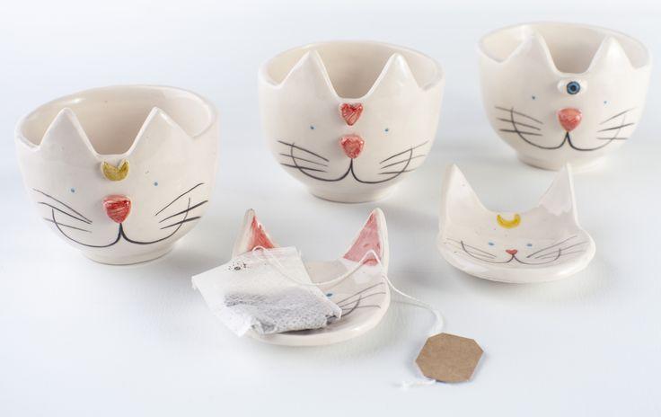 www.astralobjetos.com Tazas de té con platito porta saquito. Ceramica hecha a mano - Handmade ceramic, ceramics, clay, pottery. Tea Cup