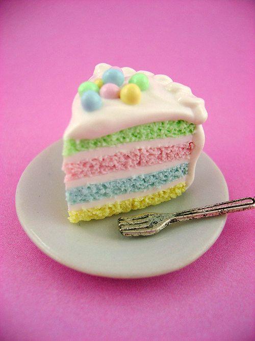 Springtime Soft Pastel Rainbow Easter Cake Slice