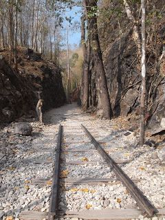 The tracks laid in the Pass -  The Death Railway And Hellfire Pass http://jouljet.blogspot.com/2013/02/the-death-railway-and-hellfire-pass.html #Thailand #ANZACs #travel #Kanchanaburi #WWII