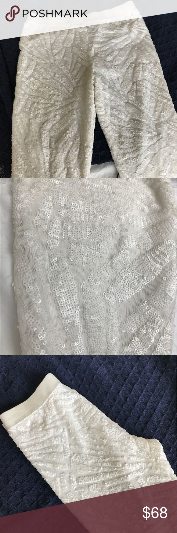 BCBG Sequin Leggings White Used, in Good Condition!! There are no tears or frays at all. All of the sequins are in place. These leggings are perfect for a party or a bride to be!! ❤️ BCBGMaxAzria Pants Leggings