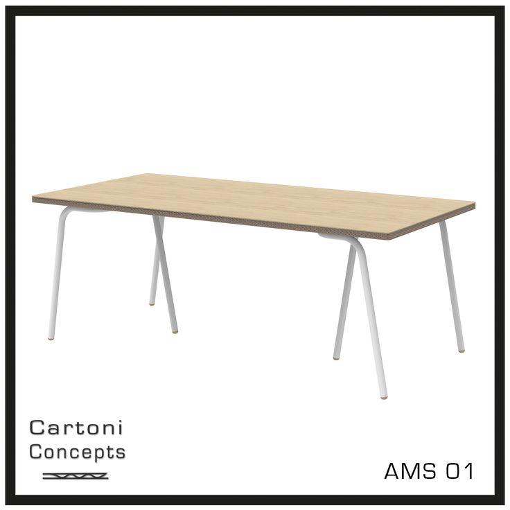 De AMS01 is een tafel van karton welke is afgewerkt met een toplaag van blank eiken hout. het speciaal ontworpen onderstel zorgt ervoor dat je aan alle kanten van de tafel kan zitten #meubelsvankarton #duurzaamdesign