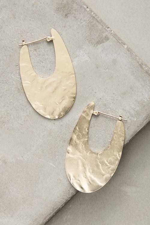 Oblong Brass Golden Hoop Earrings. Available here: http://rstyle.me/n/ce89i5bcukx