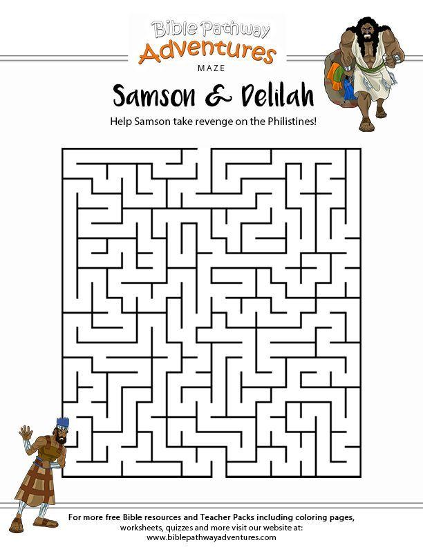 Printable Samson Maze For Kids Sunday School Bible