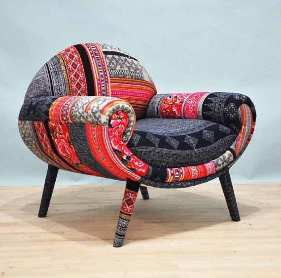 I am in LOVE with this chair. The more I look at it the more I need it. www.StyleSista.ca Smiley patchwork armchair  August by namedesignstudio on Etsy, $1500.00
