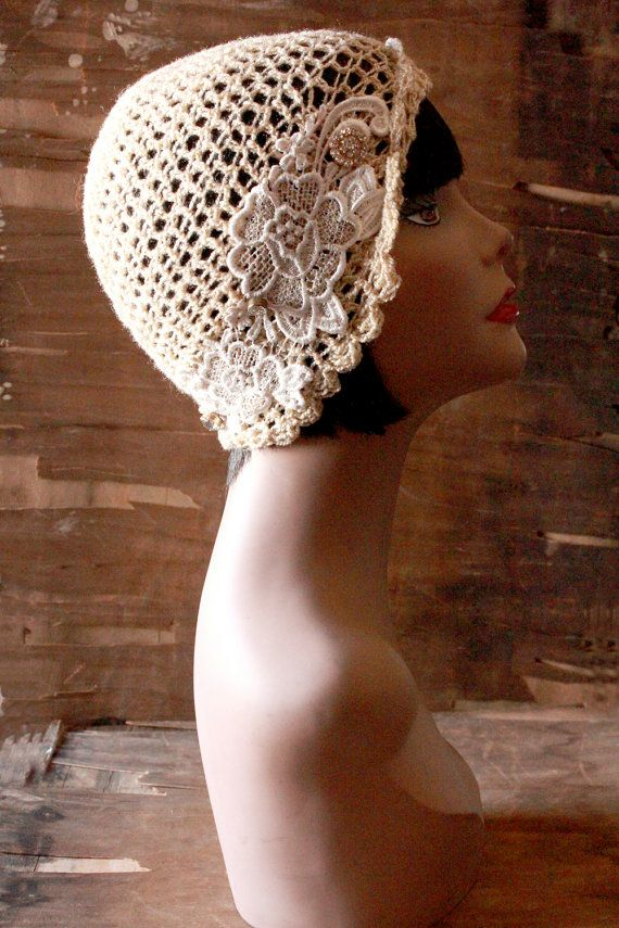 French Lace & Vintage Buttons Cloche Hat