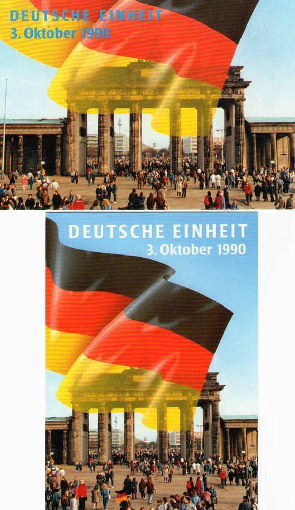 Die GLEICHE Ansichtskarte habe ich AUCH bei mir ZUHAUSE: AK  2 AK Berlin , Brandenburger Tor , Deutsche Einheit 3. Oktober 1990