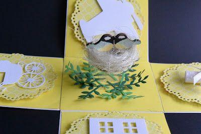 Ślubny exploding box z ptaszkami