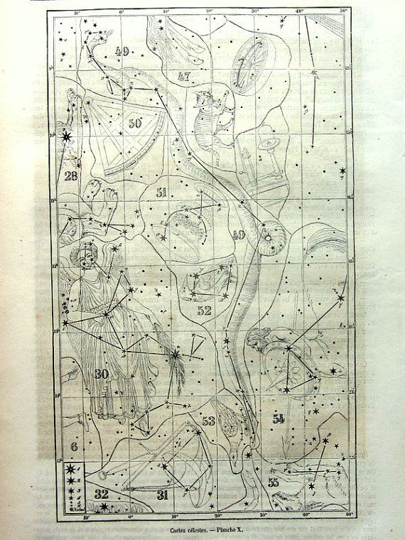 Gorgeous antique constellations chart print by LyraNebulaPrints