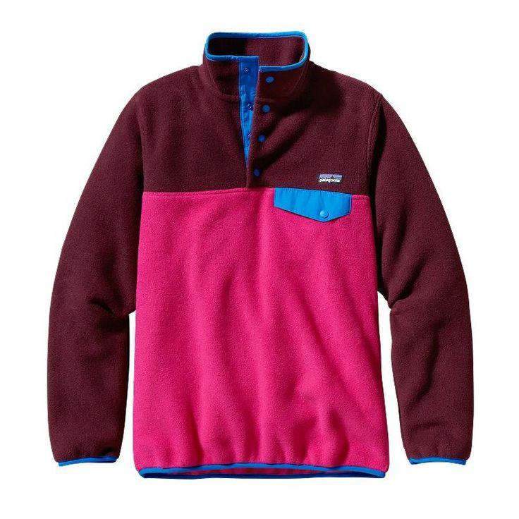 Patagonia Women\'s Synchilla\u00AE Lightweight Snap-T\u00AE Fleece Pullover - Radiant Magenta w/Dark Currant RMDC-733
