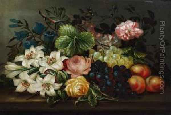 Розы, лилии, черный и зеленый виноград, андеграфы на репродукции живописи маслом Ledge от Эдвина Стила - PlentyOfPaintings.com