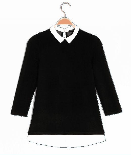 T-shirt femme 2en 1 bimatière Noir