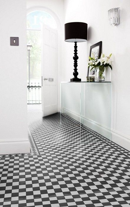 Black and white floor tiles, Topps Tiles. This is just like our entrance! ;o) Lets have this.....very grand.