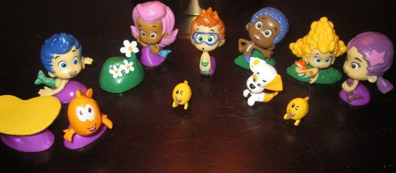 NEW Bubble Guppies Book  Playset Nickelodeon Toy Figures  Birthday Party Supplies Decorations Cupcake Cake Toppers