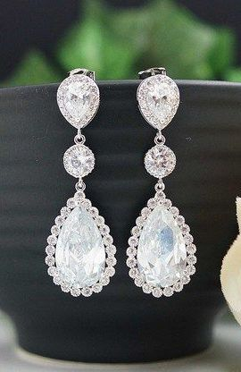 LUX Cubic Zirconia Drops with CZ connectors Bridal Earrings