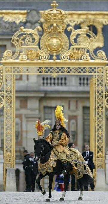 Palace of Versailles ~ Men on horseback during a wedding celebration, France