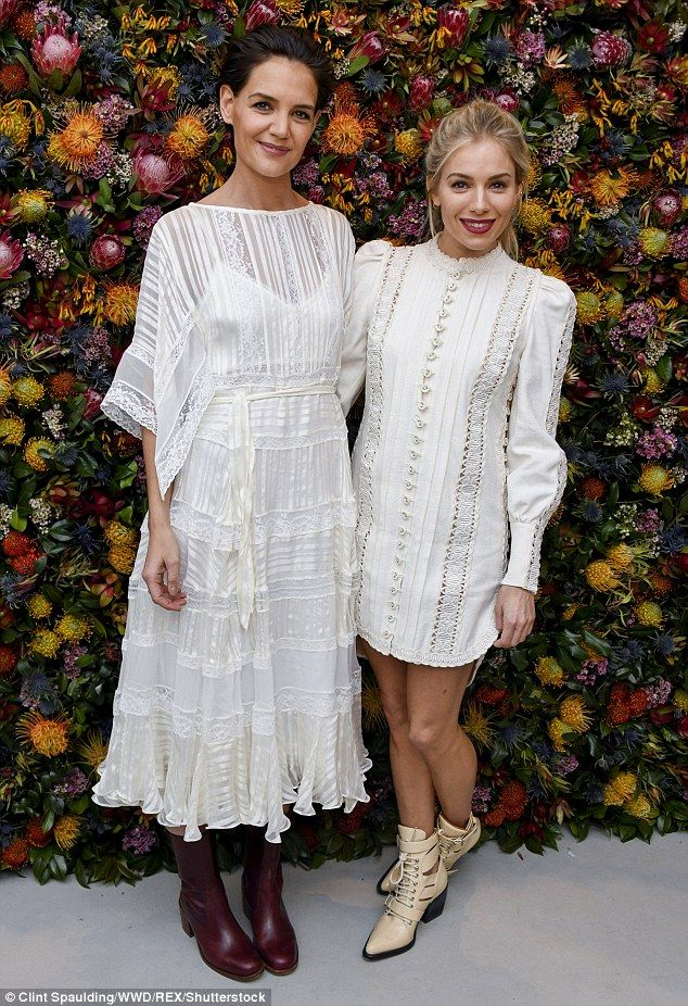 Bohemian style: Katie Holmes and Sienna Miller wore white to celebrate the Zimmermann Fall Winter 2018 collection at New York Fashion Week Tuesday night