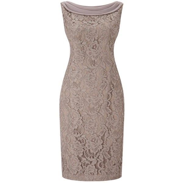 Jacques Vert Petite Lace Drape Cape Dress, Mid Brown ($220) ❤ liked on Polyvore featuring dresses, petite, long-sleeve midi dresses, floral maxi dress, petite maxi dresses, lace dress and floral print maxi dress