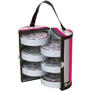 Creative Options   Six Tray Bead And Embellishment Tower   Black, Magenta  And Silver