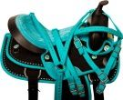 Teal Black Crystal Cordura Western Horse Saddle Tack 14 18