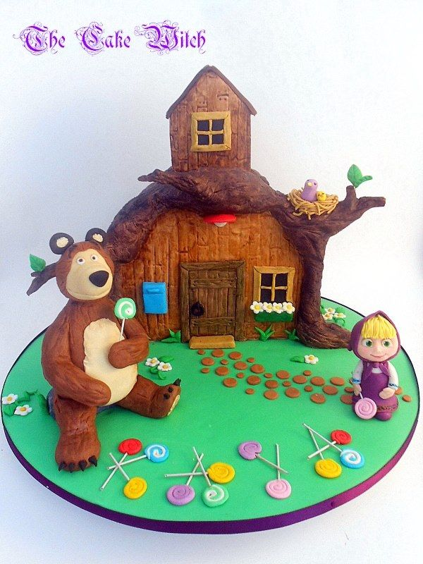 Masha and the Bear cake with a 3D house