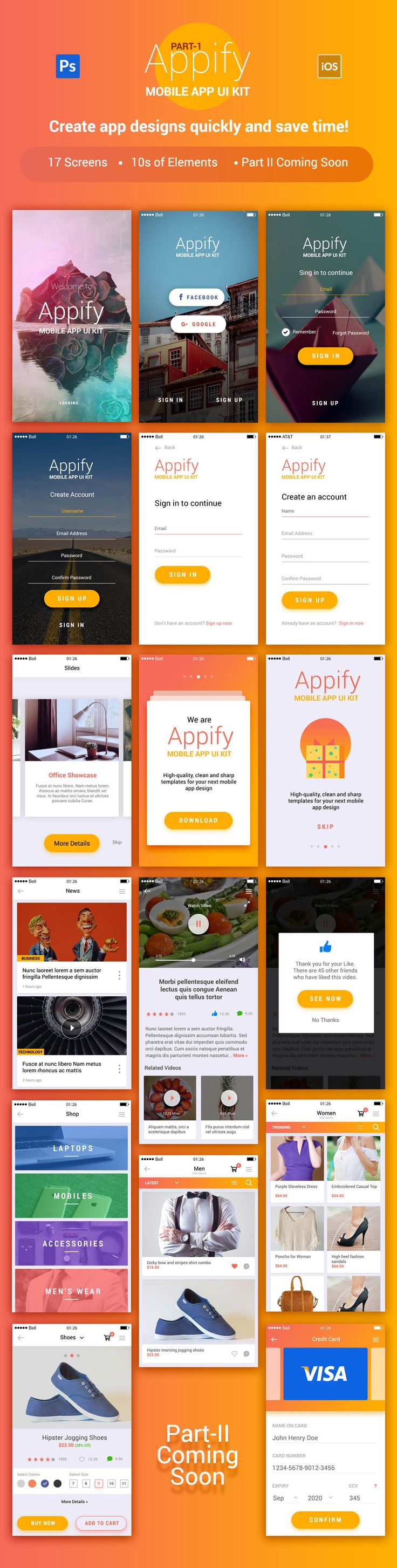 Today I'll introduce you Appify – Free Mobile App UI Kit Vol.1. It is a new mobile app UI Kit for creating beautiful mobile apps perfect for Ecommerce, news, stories, music and more.All you need to do is click the download button and enjoy it!