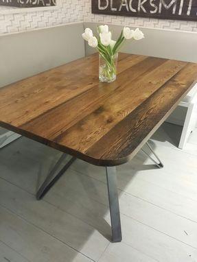 custom made reclaimed wood and steel pedestal table a few of my rh pinterest com