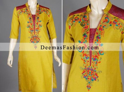 Bright Yellow Casual Wear Shalwar Kameez   Latest Pakistani Fashion 2014 Bridal Dresses Formal Wear