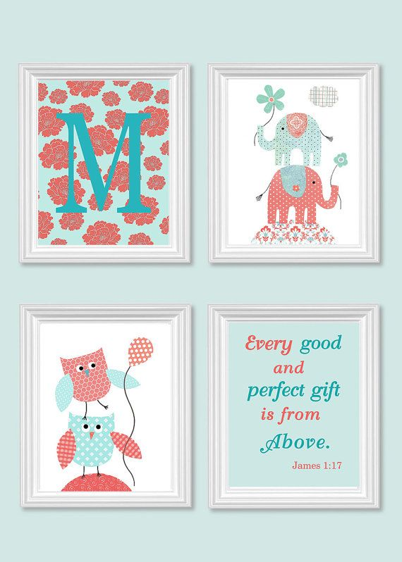 Aqua Coral Turquoise Teal Nursery Art Baby Girl's Room Decor Monogram Initial Every Good and Perfect Gift Elephants Owls 8 x 10 or 11 x 14 on Etsy, $52.00