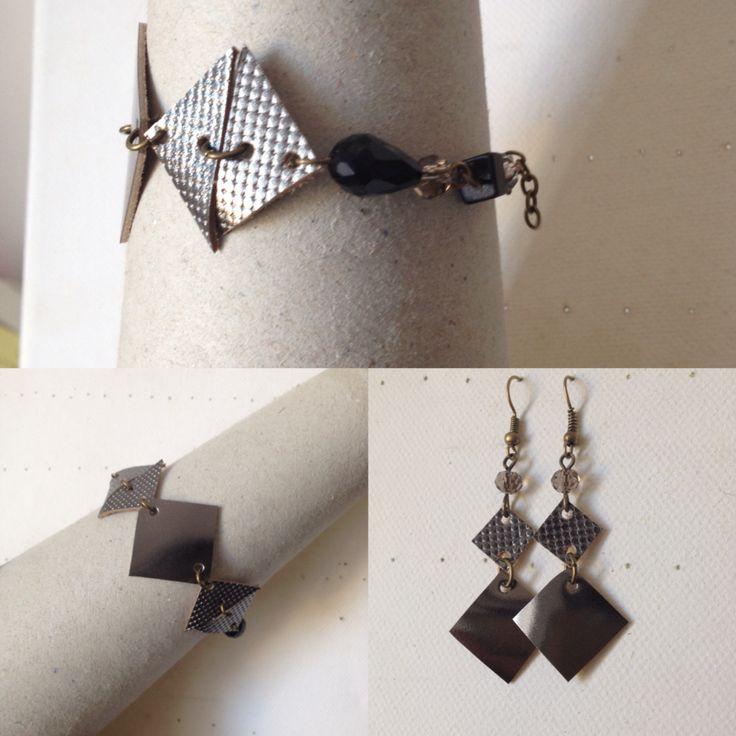 FrauCollection# handmade# bracciale e orecchini in pelle# geometrie #argento e nero