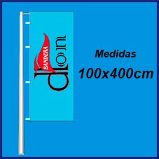 Banderas verticales publicitarias con vaina 100x400cm. Comprar banderas verticales baratas con potencia. Fabricadas en poliester 115grs. Banderolas de publicidad con vaina.