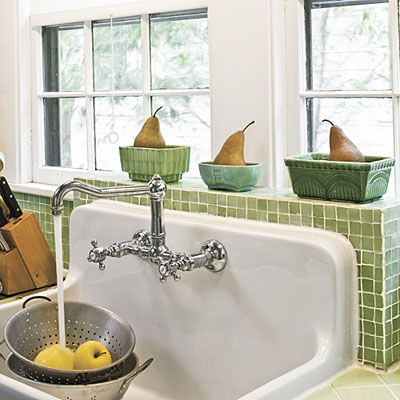 Farm House Sink. Love the raised back on this style, but I don't like that type of faucet.  One handle and pull down are required