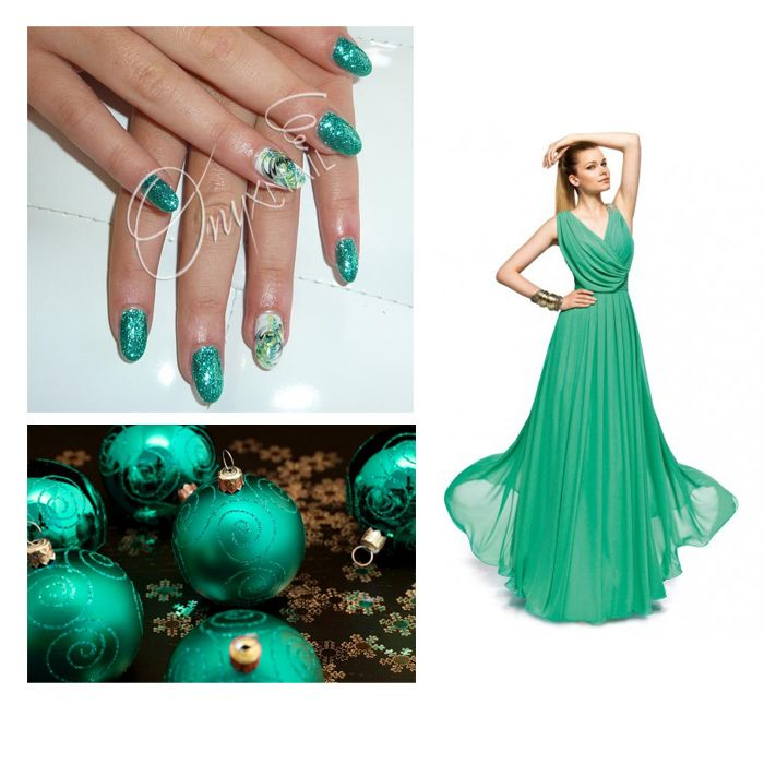 Gel UV Smeraldo Glitter #nails #nailart #nailpolish #manicure #beauty #unghie #smalti #greenemerald
