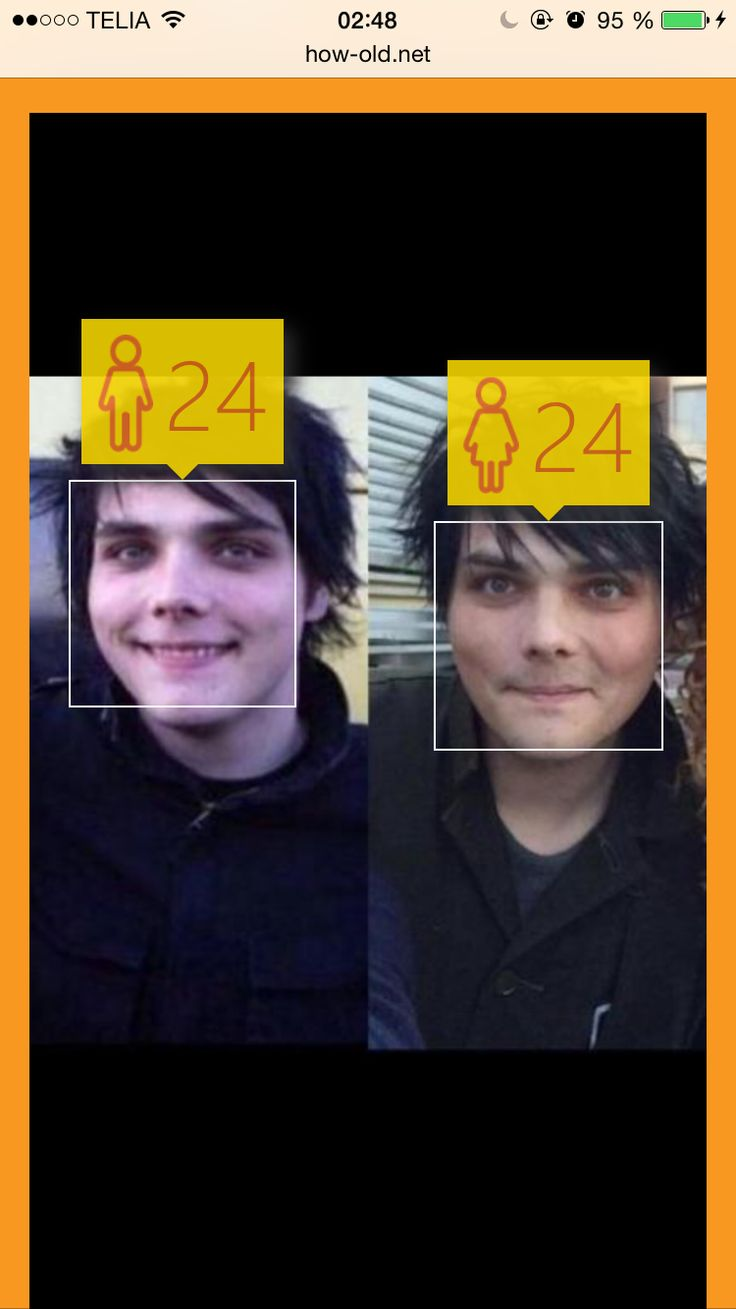 Both pictures are Gerard Way but taken 10 years apart. Both pictures guessed he was 24 (incorectly) and the 2nd picture apparently guessed Gerard was a woman? XD