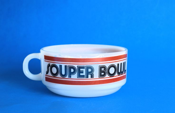 Glasbake Souper Bowl Soup Mug - Vintage Retro Football 70s Cup - Milk Glass - Made in USA by FunkyKoala on Etsy
