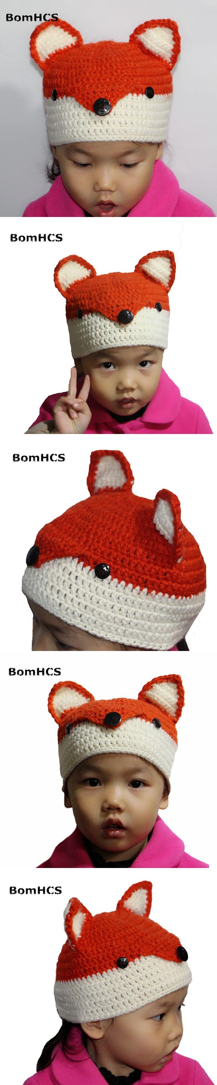 BomHCS Cute Fox Ears Hat 100% Handmade Knitted Kids Ears Cap Winter Warm Beanie