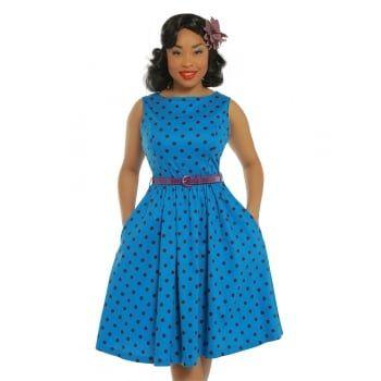 'Audrey' Medium Blue Polka Dot Swing Dress -  from Lindy Bop UK