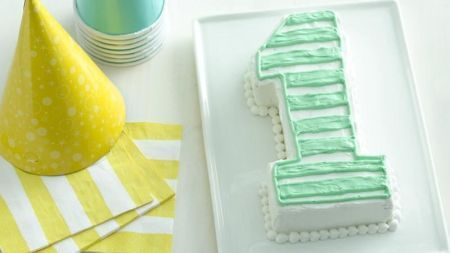 Number 1 shaped birthday cake.  See more 1st boy birthday cakes and party ideas at one-stop-party-ideas.com