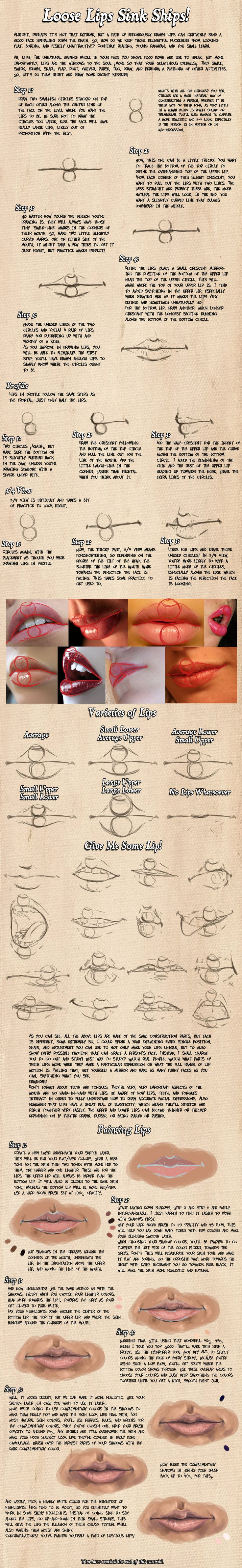 how to draw lips.  Wow, if it takes this much time to do lips....how long will it take for me to do  the rest of the picture?