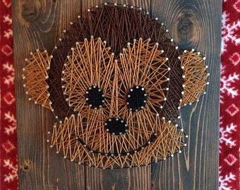 String art, nail and string art, monkey, kids decor, cute, modern but vintage, wood and rustic, thread and nails, birthday gift idea, unique