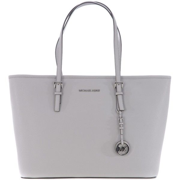 Classic Tote ($280) ❤ liked on Polyvore featuring bags, handbags, tote bags, grigio perla, tote handbags, michael kors, michael kors tote bag, grey tote bag and zip top tote bags