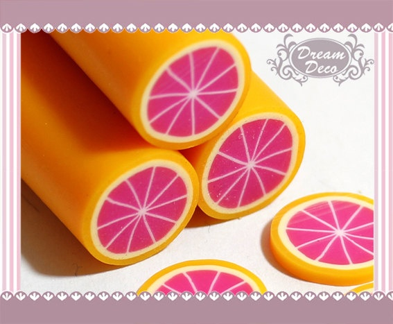 Large / Big Grapefruit Polymer Clay Cane / Fimo Cane by DreamDeco