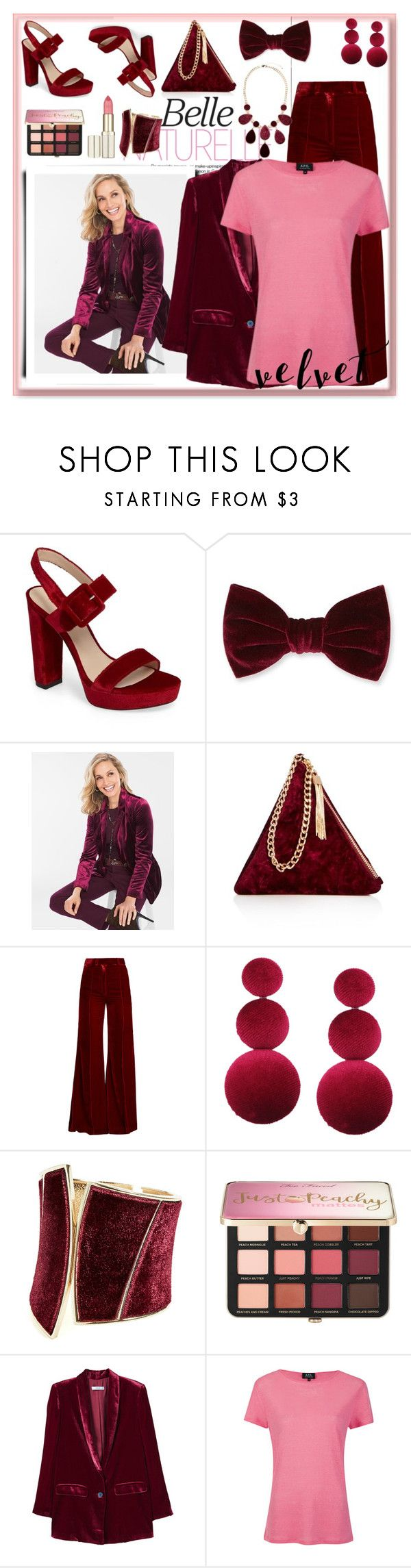"""""""Crushing on Velvet"""" by nefertiti1373 ❤ liked on Polyvore featuring Pelle Moda, Forever 21, Chico's, Street Level, Racil, GUESS by Marciano, Sephora Collection, MANGO, A.P.C. and velvet"""
