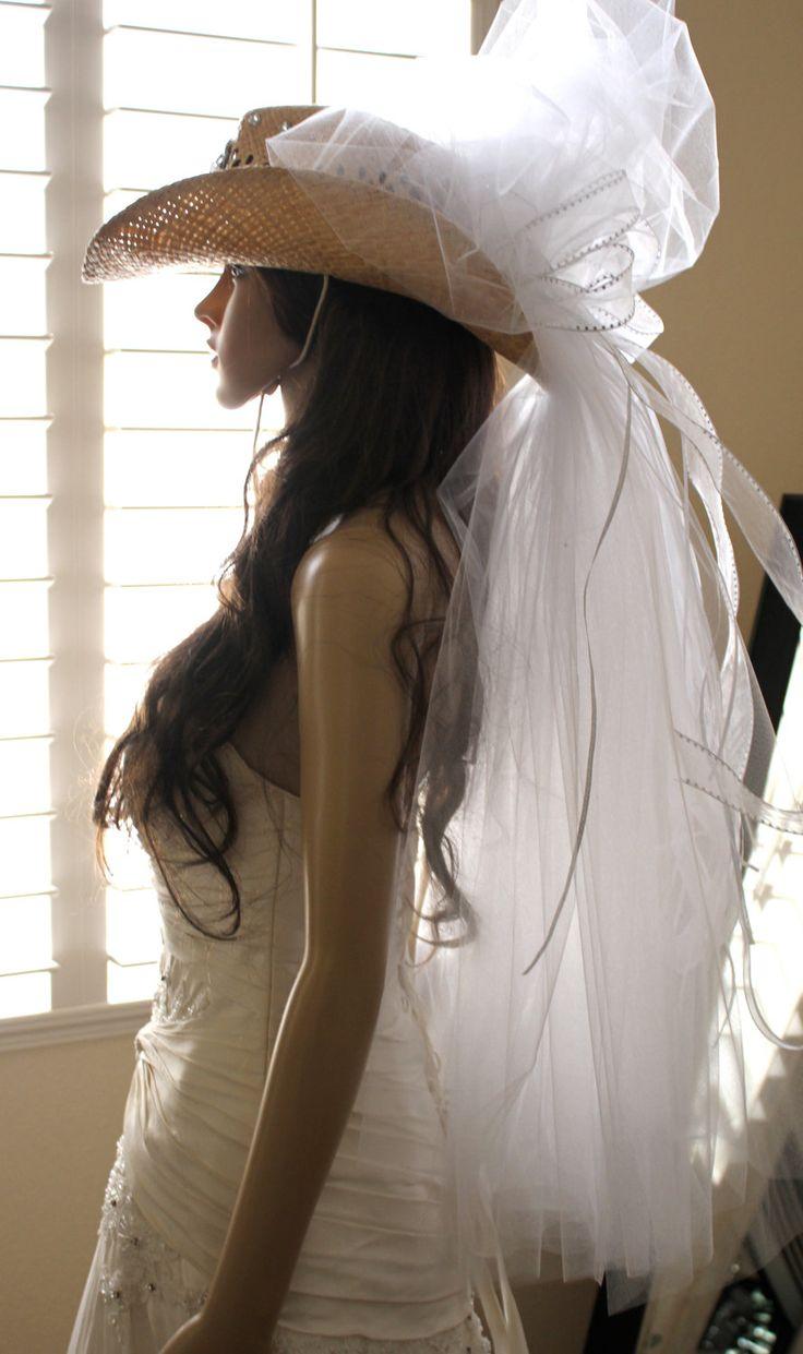COWBOY HAT Bridal VEIL, Bachelorette Cowboy Hat  from Las Vegas by Vegas Veils