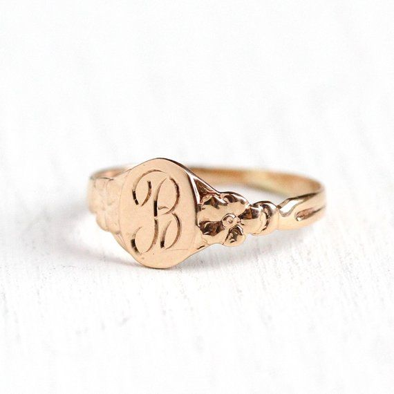 Sale B Signet Ring Art Deco 10k Rosy Yellow Gold Letter B Baby Band 20s Size 1 2 Initial Monogrammed Letter Midi Knuckle Fine Jewelry By Maejean Accesorios