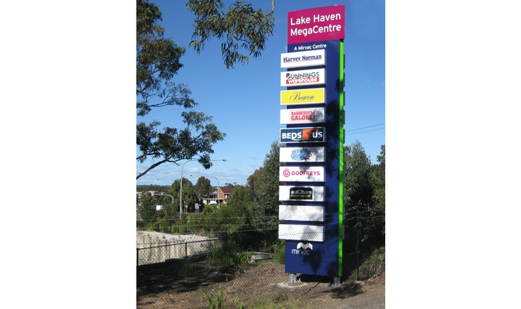 Corporate Signage Solution for Lake Haven Mega Centre including Illuminated Pylon Sign with tenant directory signage by Singleton Moore Signs www.smsco.com.au