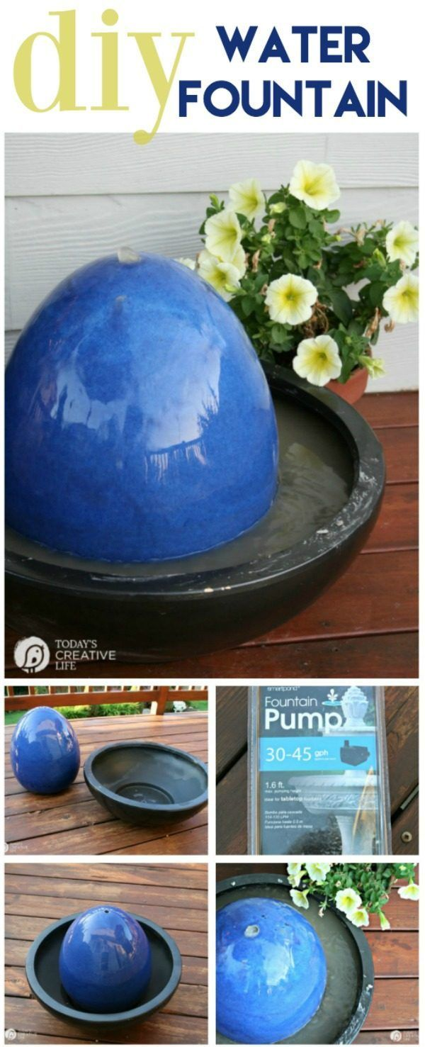 DIY Fountain | Water Fountain Feature for the backyard or patio. Make your own garden fountain with this simple tutorial. Click on the photo the tutorial. TodaysCreativeLife.com