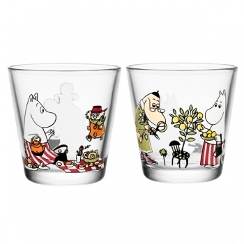 """Picnic and Jungle Life"" Moomin glasses by Arabia Finland"