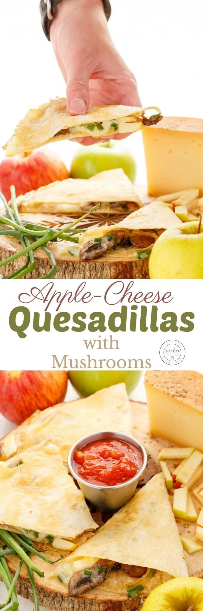 Apple-Cheese Quesadillas with Mushrooms | http://thecookiewriter.com | @thecookiewriter | YUM! These should also work fine on most good contact grills.