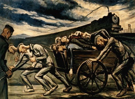 'Arrival of a Convoy' by David Olère. ~ A Living Memorial to the Holocaust, New York. A new convoy arrives in the background as inmates struggle with a cart carrying away cadavers from a previous convoy.